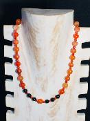 Collier en agates orange et Obsidiennes