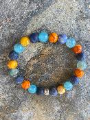 Bracelet Sodalite , Agate Bleue et Orange