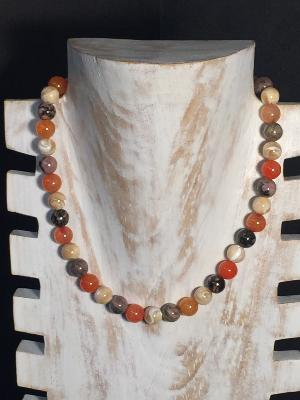 Collier en Agates orange et Nacre