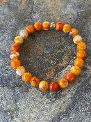 Bracelet Agate veines de dragon orange