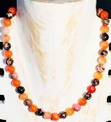 Collier en Agate orange et Agates paysage